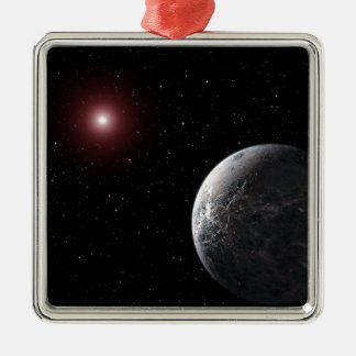 An icy/rocky planet orbiting a dim star metal ornament