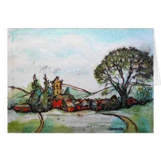 An Idyllic British Village sketch Card