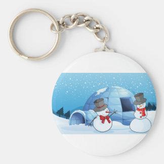 an igloo and snowmen keychain