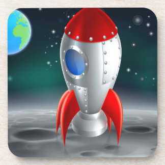 An illustration of a cartoon retro space rocket sh beverage coaster