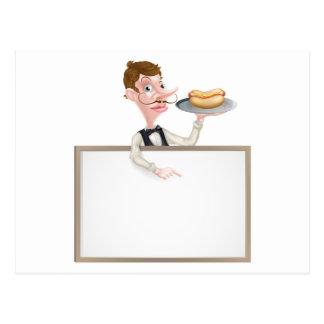 An Illustration of a Cartoon Waiter Hotdog Sign Postcard