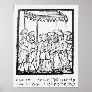 An illustration of a Jewish wedding Print