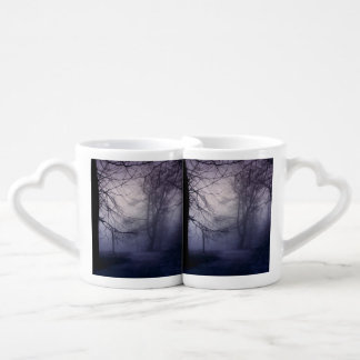 An image of a beautiful forest with fog coffee mug set