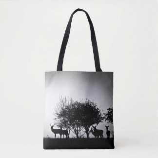 An image of some deer in the morning mist tote bag