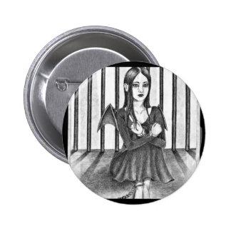 An imprisoned angel pinback button