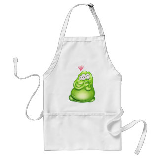 An in-love greenslime monster adult apron