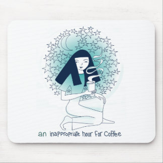 An inappropriate hour for coffee mouse pad