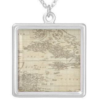 An index map silver plated necklace