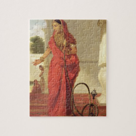 An Indian Dancing Girl with a Hookah, 1772 (oil on Jigsaw Puzzle