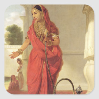 An Indian Dancing Girl with a Hookah, 1772 (oil on Square Sticker