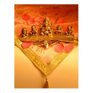 An Indian lamp with Ganesha Idol Postcard