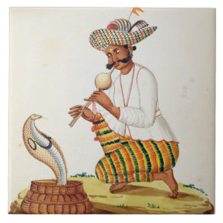 An Indian Snake Charmer with a Cobra, from a Frenc Ceramic Tile