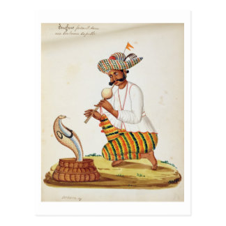 An Indian Snake Charmer with a Cobra, from a Frenc Postcard
