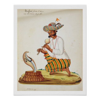 An Indian Snake Charmer with a Cobra, from a Frenc Poster