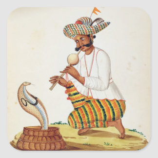 An Indian Snake Charmer with a Cobra, from a Frenc Square Sticker
