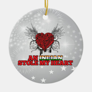 An Indian Stole my Heart Double-Sided Ceramic Round Christmas Ornament