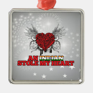 An Indian Stole my Heart Square Metal Christmas Ornament