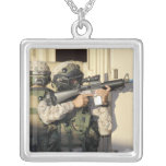 An infantry scout aims his weapon square pendant necklace