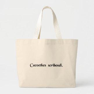 An insatiable urge to write. canvas bag