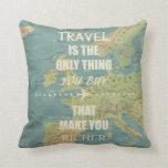An inspiring travel quotes throw pillows