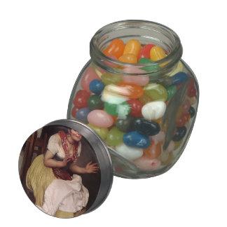 An Interesting Story by Eugene de Blaas Glass Candy Jar