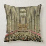 An Interior View of Westminster Abbey on the Comme Throw Pillows