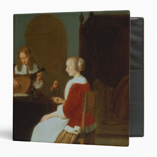 An interior with a lute player binders