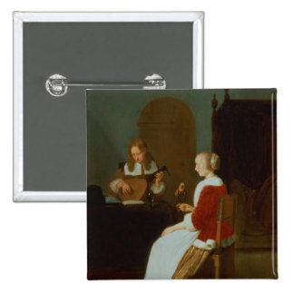 An interior with a lute player button
