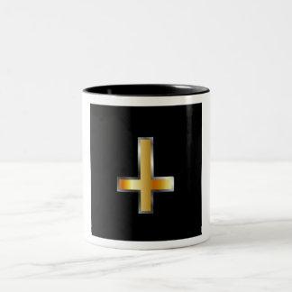 An inverted cross- The Cross of Saint Peter Two-Tone Coffee Mug
