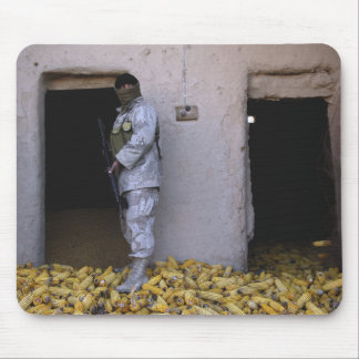 An Iraqi army soldier checks a storage room Mouse Pad