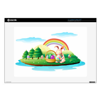 """An island with a bunny and a basket of easter eggs decals for 15"""" laptops"""