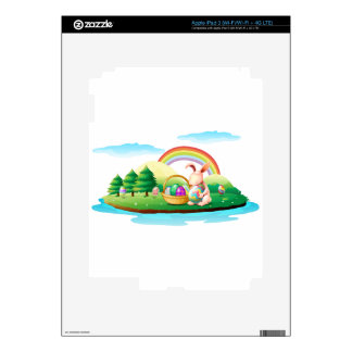 An island with a bunny and a basket of easter eggs iPad 3 skin