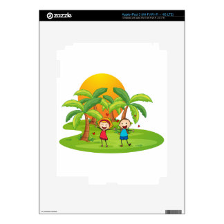 An island with a happy couple skins for iPad 3