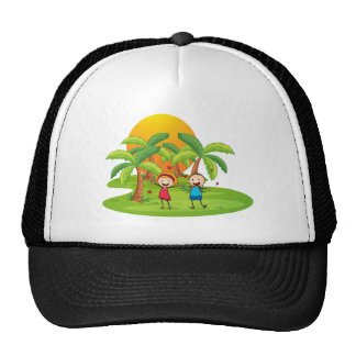 An island with a happy couple trucker hat