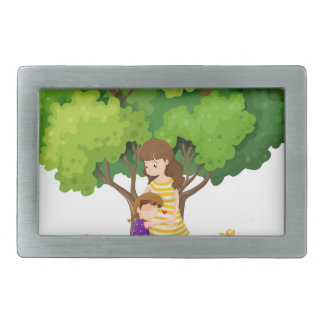 An island with a mother and a daughter rectangular belt buckle