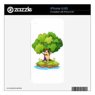 An island with a mother and a daughter skin for the iPhone 4S