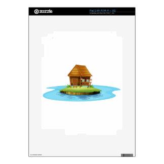 An island with a small nipa hut iPad 2 decal