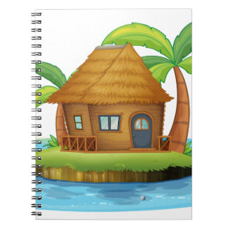 An island with a small nipa hut spiral note book
