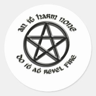 an it harm none classic round sticker