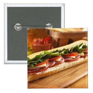 An Italian sub sandwich with 2 2 Inch Square Button