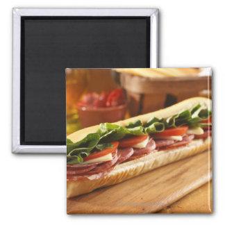 An Italian sub sandwich with 2 Fridge Magnet