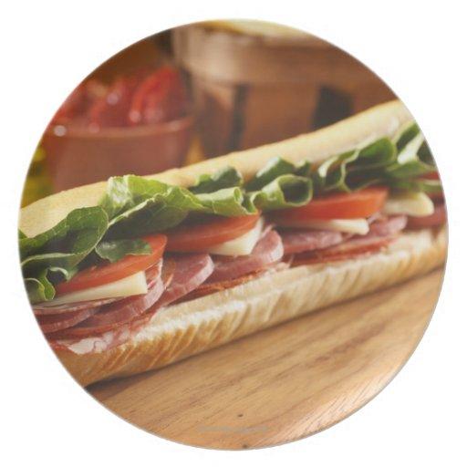 An Italian sub sandwich with 2 Plate