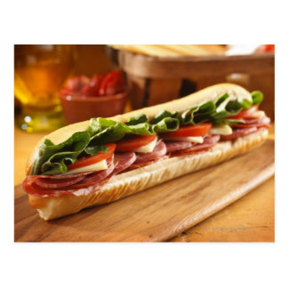An Italian sub sandwich with 2 Postcard