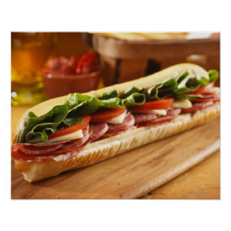 An Italian sub sandwich with 2 Poster