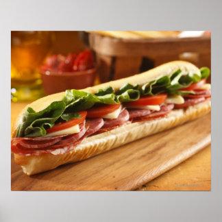 An Italian sub sandwich with 2 Print