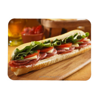 An Italian sub sandwich with 2 Rectangular Magnets