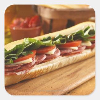 An Italian sub sandwich with 2 Square Sticker
