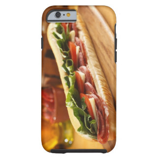 An Italian sub sandwich with 2 Tough iPhone 6 Case