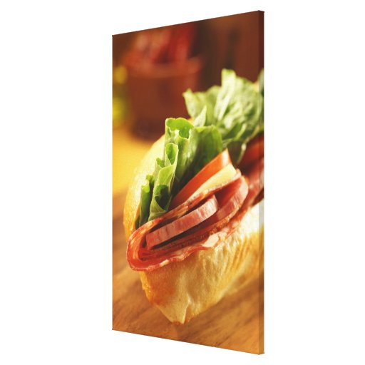 An Italian sub sandwich with Stretched Canvas Print