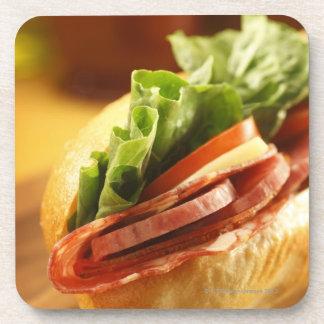 An Italian sub sandwich with Drink Coaster